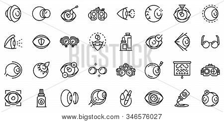 Optician Icons Set. Outline Set Of Optician Vector Icons For Web Design Isolated On White Background