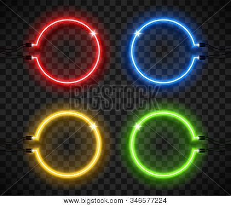 Neon Frame Sign In The Shape Of A Circle. Colorful Electric Lamps. Template Design Element. Vector I