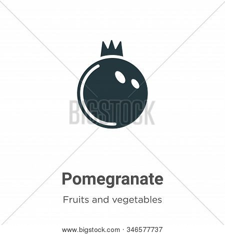 Pomegranate Glyph Icon Vector On White Background. Flat Vector Pomegranate Icon Symbol Sign From Mod