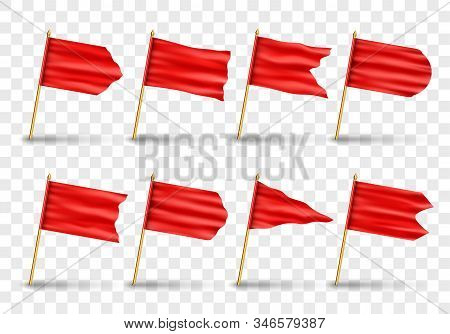 Vector Set Of Realistic Isolated Red Flags. Realistic Vector Illustration Isolated On Transparent Ba
