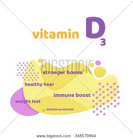 Vitamin D, D3 Vector. 2 November - Vitamin D Day. Liquid Vector Colorful Abstact Shapes. People With