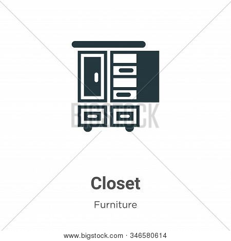 Closet Glyph Icon Vector On White Background. Flat Vector Closet Icon Symbol Sign From Modern Furnit