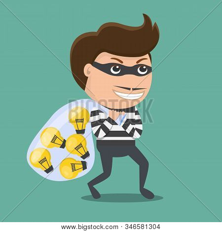 Thief Stealing Idea . Vector Illustration.  Flat Design Of Thief .