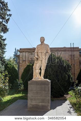 Gori, Georgia, October 13, 2019 : Monument To Stalin On A Pedestal Stands On The Territory Of The St