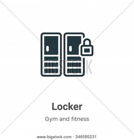Locker Glyph Icon Vector On White Background. Flat Vector Locker Icon Symbol Sign From Modern Gym An