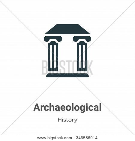 Archaeological Glyph Icon Vector On White Background. Flat Vector Archaeological Icon Symbol Sign Fr
