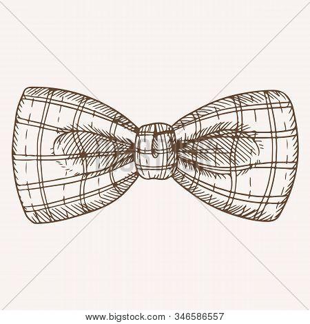 Classic Retro Checkered Bow Tie Hand Drawn Illustration