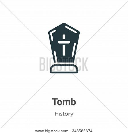 Tomb Glyph Icon Vector On White Background. Flat Vector Tomb Icon Symbol Sign From Modern History Co