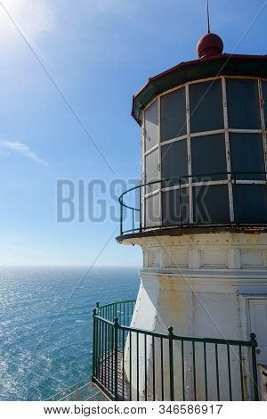 Close-up Of The Lighthouse At Point Reyes In Northern California With The Pacific Ocean In The Backg