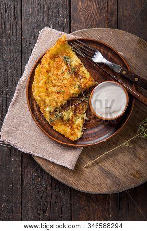 Irish Boxty Food. Irish Potato Pancakes, Latkes Or Boxty And Sauces On Wooden Background. Irish  Box