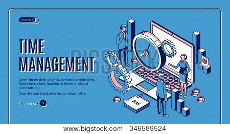 Time Management Landing Page. Laptop With Office Gears And Watches, Task Prioritizing, Organization