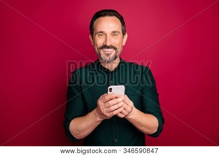 Close-up Portrait Of His He Nice Attractive Cheerful Cheery Glad Brunette Man Using Cell App 5g Wi-f