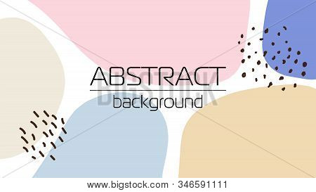 Creative Desktop Banner Background With Hand Drawn Abstract Textured Shapes, Neutral Colors