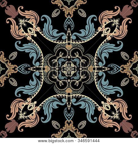 Baroque Seamless Pattern. Vector Damask Background Wallpaper With Vintage Colorful Flowers, Scroll L