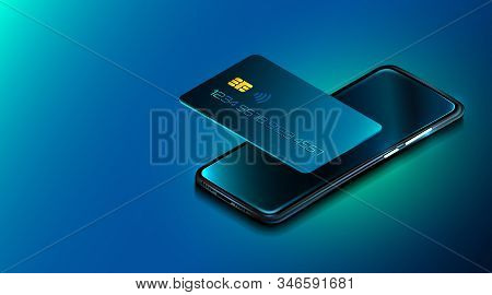Mobile Phone And Credit Card. Internet Banking. Online Payment Security. Protection Shopping Wireles