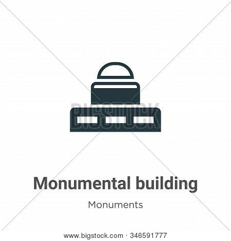 Monumental Building Glyph Icon Vector On White Background. Flat Vector Monumental Building Icon Symb