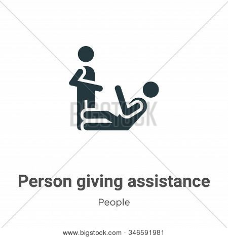 Person giving assistance icon isolated on white background from people collection. Person giving ass