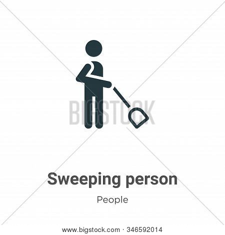 Sweeping person icon isolated on white background from people collection. Sweeping person icon trend
