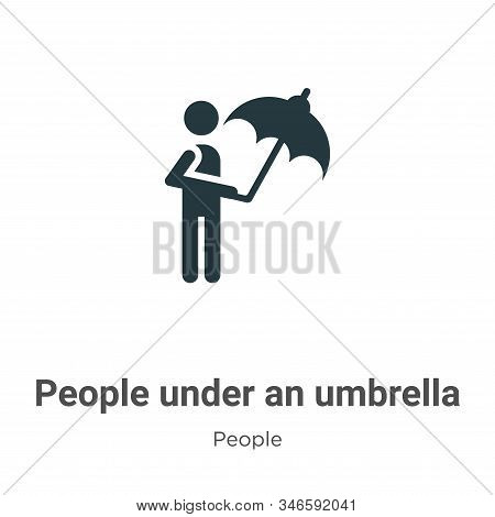 People under an umbrella icon isolated on white background from people collection. People under an u