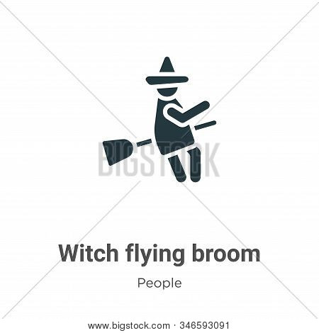 Witch Flying Broom Glyph Icon Vector On White Background. Flat Vector Witch Flying Broom Icon Symbol
