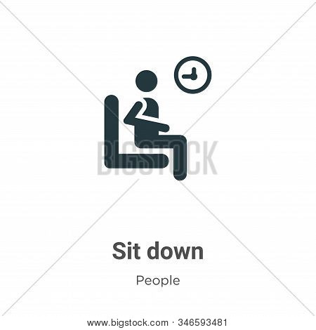 Sit Down Glyph Icon Vector On White Background. Flat Vector Sit Down Icon Symbol Sign From Modern Pe