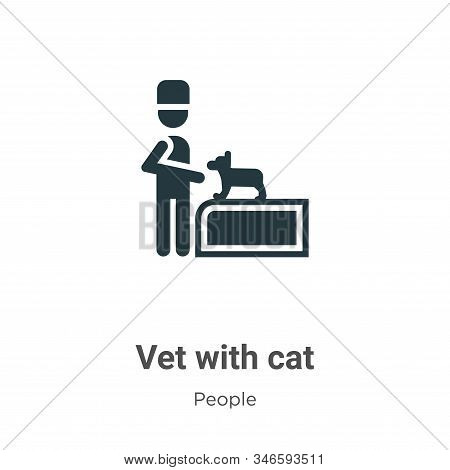 Vet with cat icon isolated on white background from people collection. Vet with cat icon trendy and