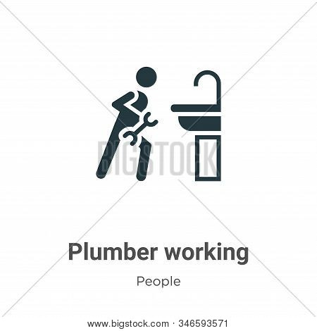 Plumber working icon isolated on white background from people collection. Plumber working icon trend