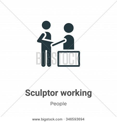 Sculptor Working Glyph Icon Vector On White Background. Flat Vector Sculptor Working Icon Symbol Sig
