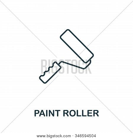 Paint Roller Line Icon. Thin Style Element From Construction Tools Icons Collection. Outline Paint R
