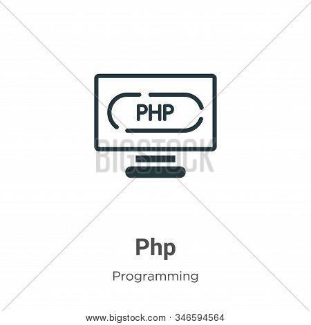 Php Glyph Icon Vector On White Background. Flat Vector Php Icon Symbol Sign From Modern Programming