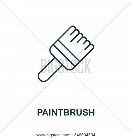 Paintbrush Line Icon. Thin Style Element From Construction Tools Icons Collection. Outline Paintbrus