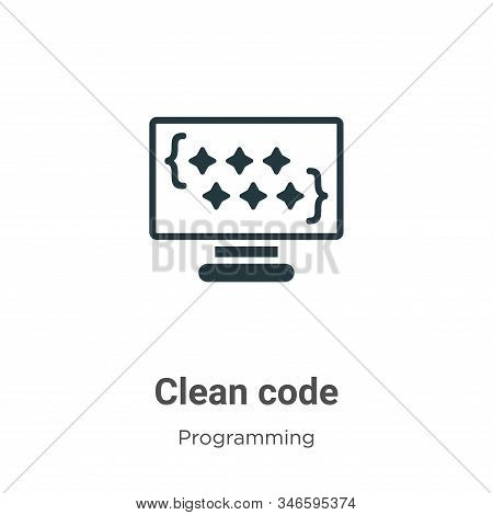 Clean code icon isolated on white background from programming collection. Clean code icon trendy and