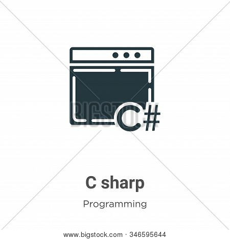 C Sharp Glyph Icon Vector On White Background. Flat Vector C Sharp Icon Symbol Sign From Modern Prog