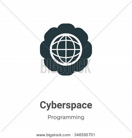 Cyberspace Glyph Icon Vector On White Background. Flat Vector Cyberspace Icon Symbol Sign From Moder