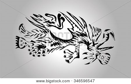 Freehand Drawing Of An Abstract Creature. Freehand Drawing Of An Abstract Creature