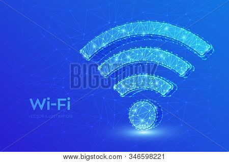 Wi-fi Network Icon. Low Poly Abstract Wi Fi Sign. Wlan Access, Wireless Hotspot Signal Symbol. Mobil
