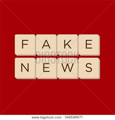 Fake News, Fact News In Scrabble Letters. Isolate Vector Illustration.