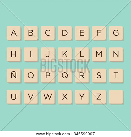Alphabet In Scrabble Letters. Isolate Vector Illustration To Compose Your Own Words And Phrases.