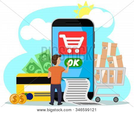 Man Miniature Pays For Purchases Online From Your Phone. Online Payments