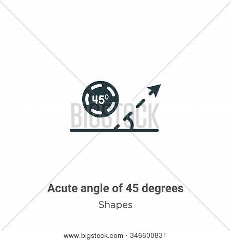 Acute angle of 45 degrees icon isolated on white background from shapes collection. Acute angle of 4