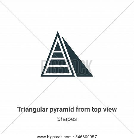 Triangular Pyramid From Top View Glyph Icon Vector On White Background. Flat Vector Triangular Pyram