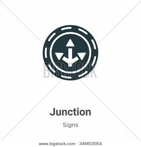 Junction Glyph Icon Vector On White Background. Flat Vector Junction Icon Symbol Sign From Modern Si