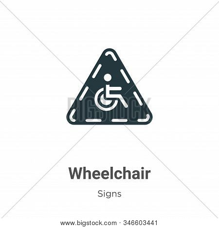 Wheelchair Glyph Icon Vector On White Background. Flat Vector Wheelchair Icon Symbol Sign From Moder
