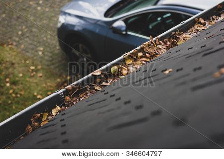 A Portrait Of A Gutter And A Slate Roof Of A House Filled With Fallen Leaves Due To Autumn. The Gutt