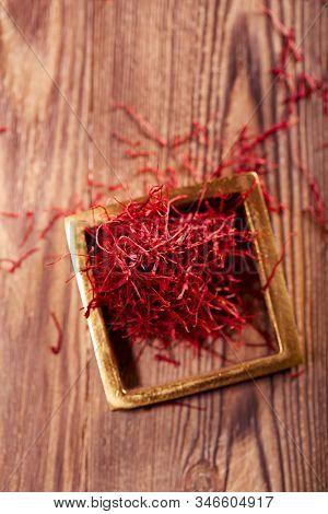 saffron threads  pile, truly color, soft focus