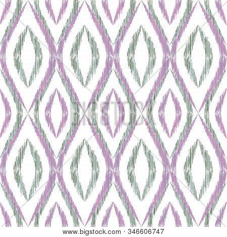 Ikat Ogee Seamless Vector Pattern Illustration. Ethnic Fabric Print Geometric Ikat Pattern. Smooth O
