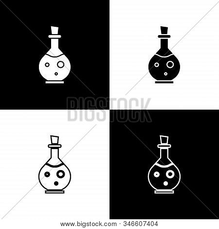 Set Glass Bottle With Magic Elixir Icon Isolated On Black And White Background. Computer Game Asset.