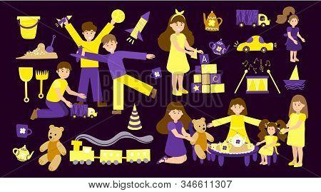 Vector Set Of Kindergarten, Children Play And Nanny. Illustration Designer For Kindergarten, Toy Sto