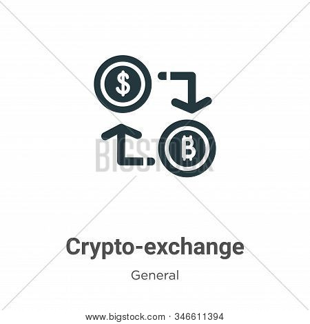 Crypto-exchange Glyph Icon Vector On White Background. Flat Vector Crypto-exchange Icon Symbol Sign