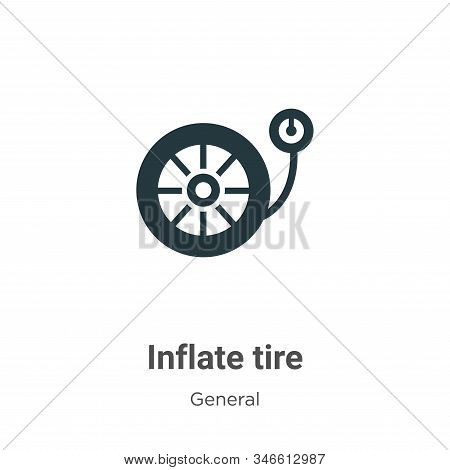Inflate Tire Glyph Icon Vector On White Background. Flat Vector Inflate Tire Icon Symbol Sign From M